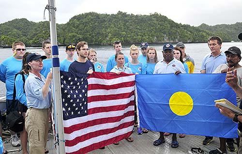 avenger flag ceremony palau for three crew members