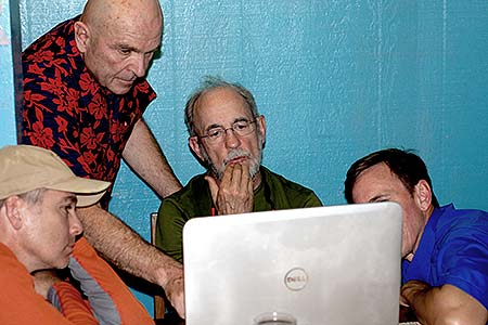 bentprop team looking at latest avenger pieces in palau