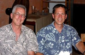 Nice shirts! Flip and Eric Terrill at dinner.