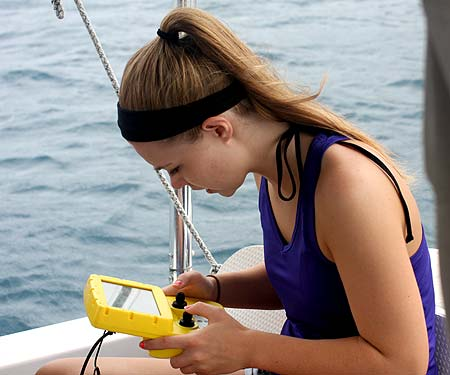Chloe driving the Deep Tracker in palau with bentprop.org