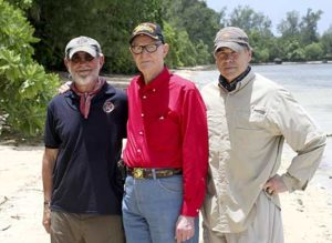 Pat, R.V. and Governor Perry pretty close to where R.V. landed during the invasion.