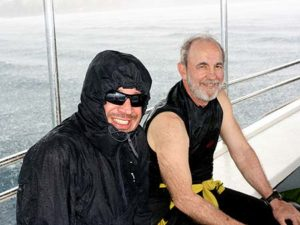 chilly rain on dive boat between dives palau