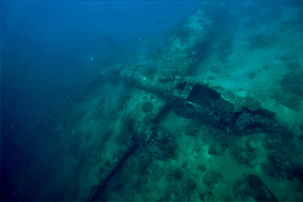 The nearly intact underwater wreck of a B-25 bomber in the waters of Papua New Guinea, documented by Project Recover.