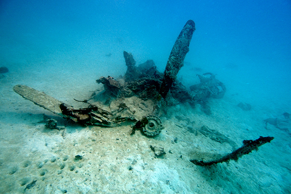 The World War II Helldiver, missing for over 70 years, was discovered in the waters of Palau. Pictured is the bent propellerr.