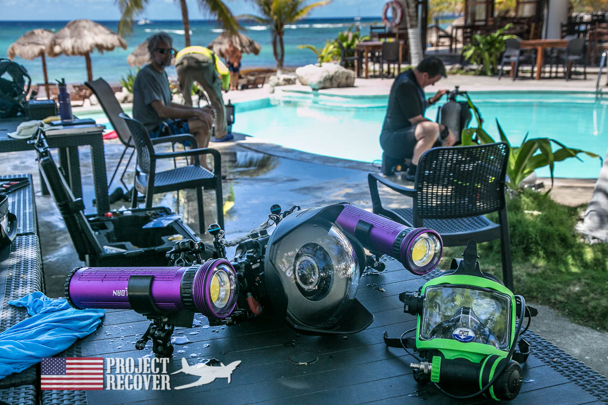 Underwater Sony Video and Stills Setup for 3D Modeling during BentProp and Project Recover's WWII MIA Search Training. Photo by Harry Parker Photography.