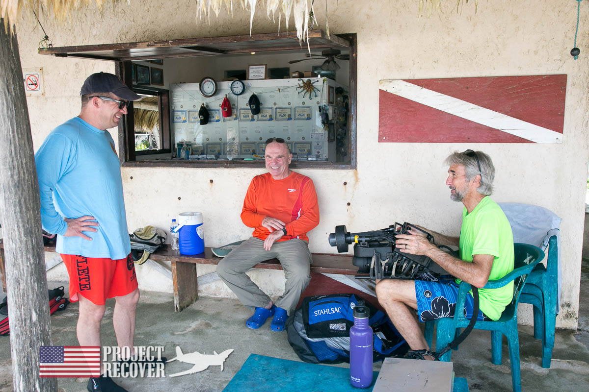 Last minute preparations before diving during BentProp and Project Recover's Dive WWII MIA Search Training. Photo by Harry Parker Photography.