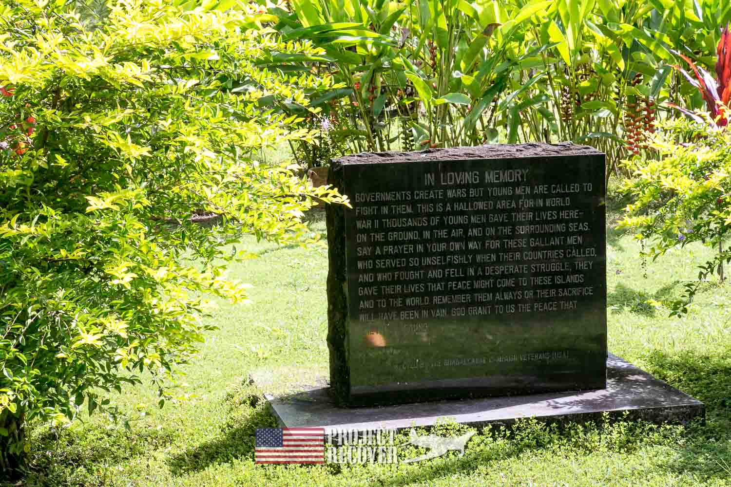 Memorial Headstone - Vilu War Museum - Honiara - Nose gunners view Japanese WWII bomber - Vilu War Museum - Honiara - while looking to find Solomon Islands MIAs - Project Recover and BentProp Project are committed to bringing the MIA home. Photos by Harry Parker Photography.com