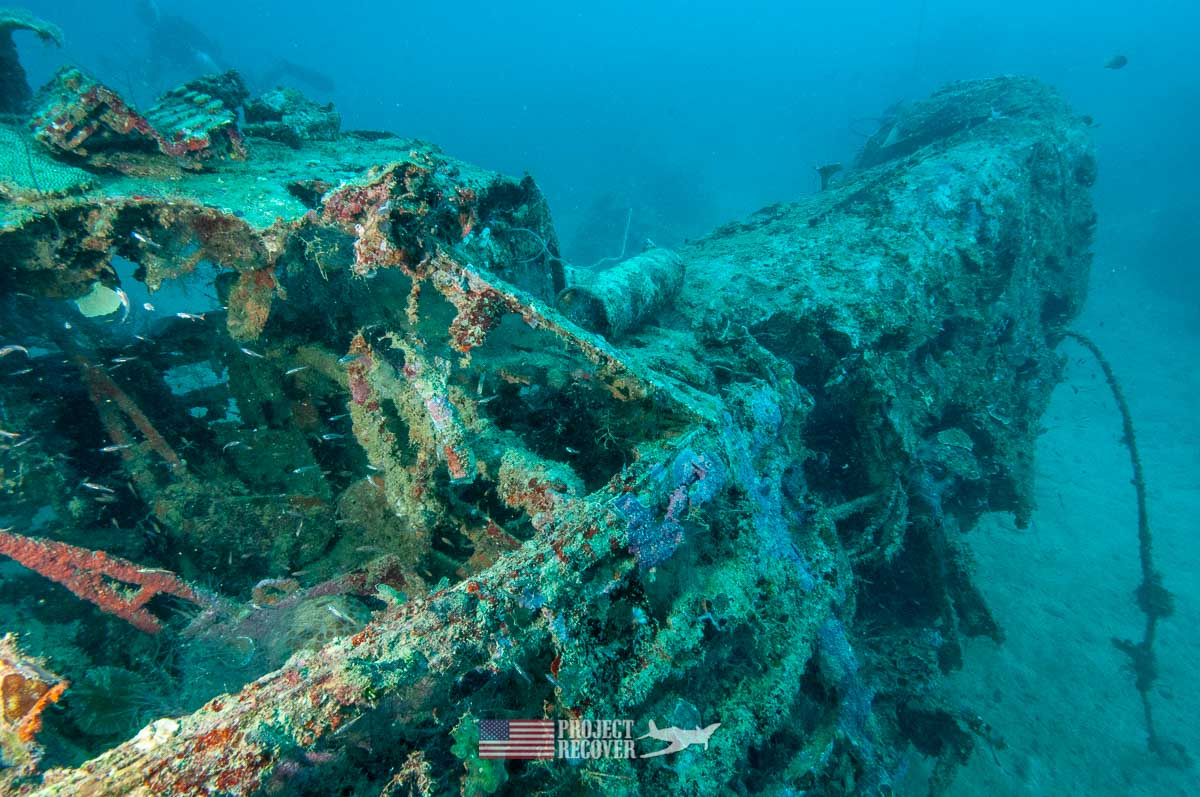 The bow section of an underwater WWII wreck of a Japanese flying boat called a Mavis during Solomons MIA Search - Project Recover and BentProp Project are committed to bringing the MIA home. Photos by Harry Parker Photography.com