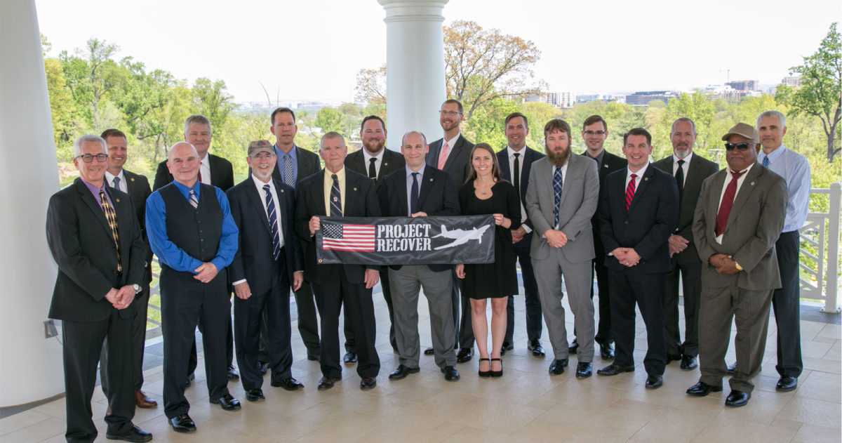Project Recover Group Shot at Arlington National Cemetery after the funeral of Navy Reserve Lt. William Q. Punnell, a World War II pilot buried with military honors at Arlington National Cemetery nearly 74 years after being listed as Missing In Action. Photo by Harry Parker Photography