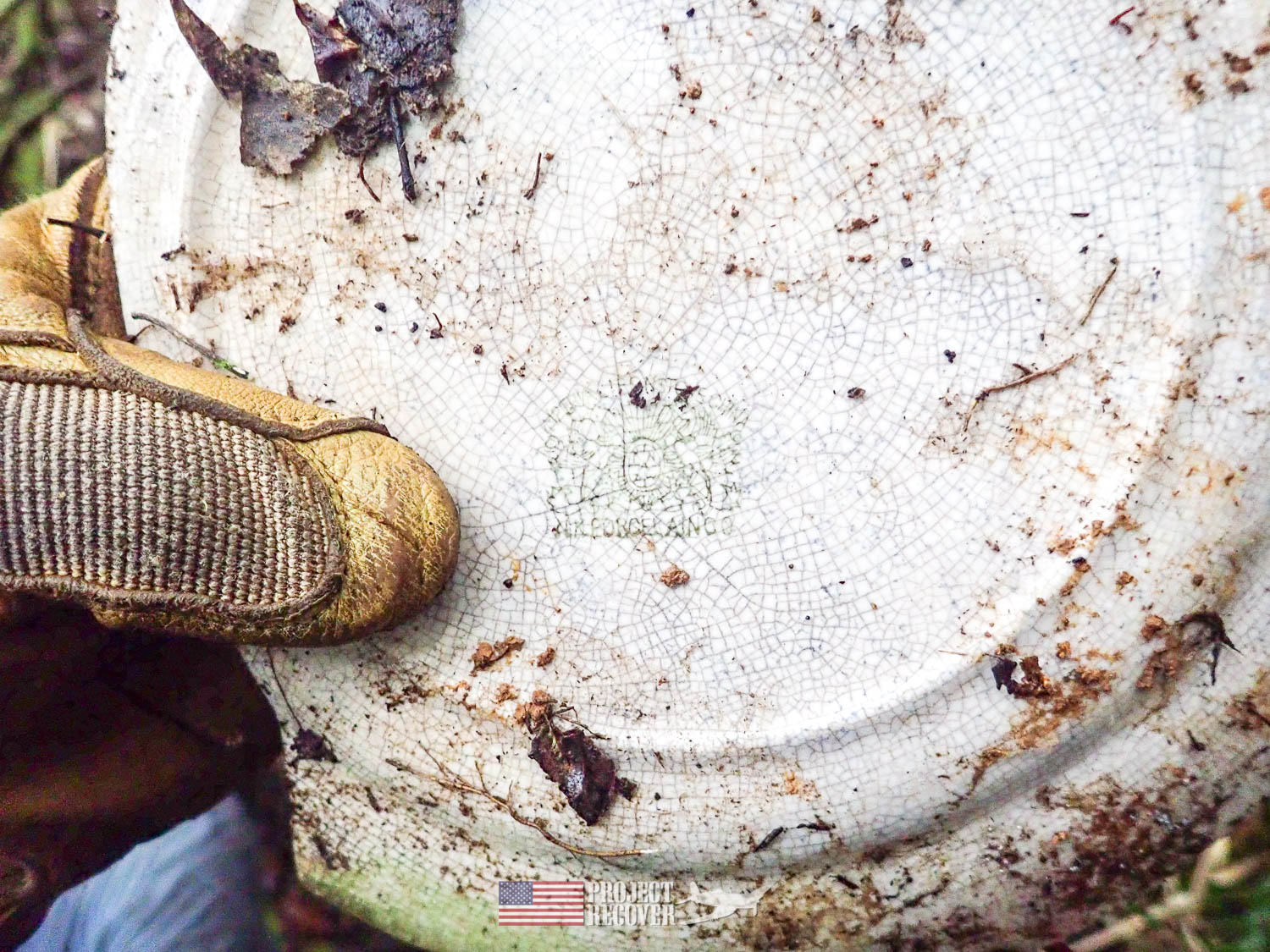 Japanese plate found in jungle. Execution of WWII POWs and Innocents in Palau - Project Recover is committed to bringing the MIA home. Photos by Harry Parker Photography.com