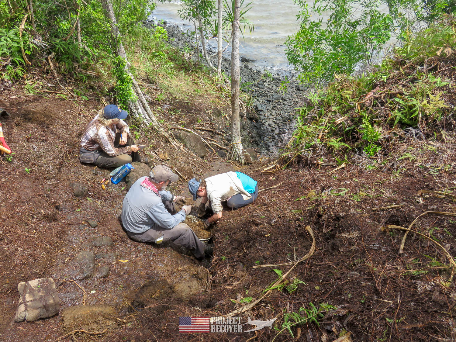 Excavating in Palau under supervision of archaeologist, Jolie Liston. Execution of WWII POWs and Innocents in Palau - Project Recover is committed to bringing the MIA home. Photos by Harry Parker Photography.com
