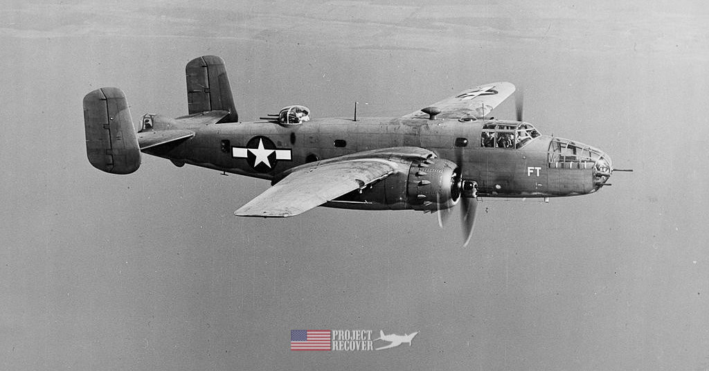 A B-25 Mitchell in flight during WWII - Project Recover is committed to bringing the MIA home.