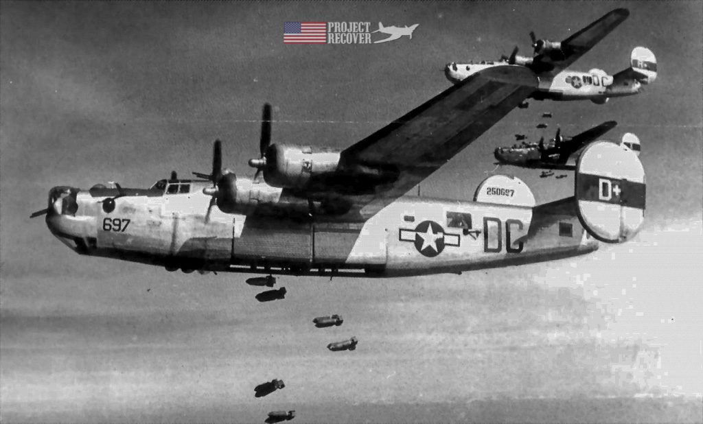 A formation of B-24's dropping bombs during WWII - Project Recover is committed to bringing the MIA home.