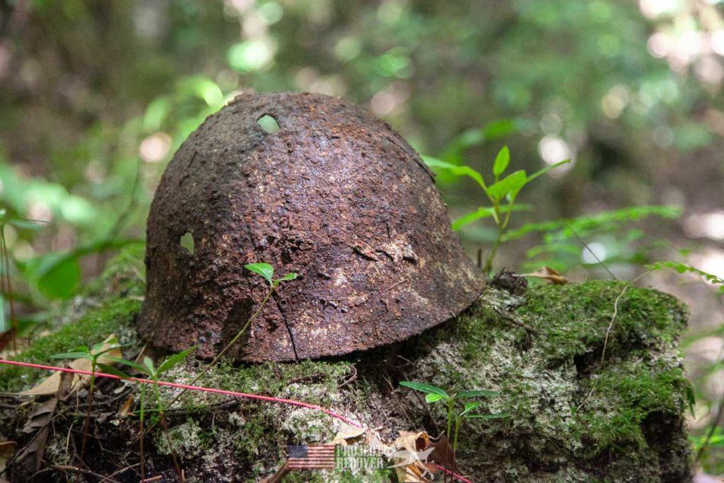 WWII helmet found on Peleliu.