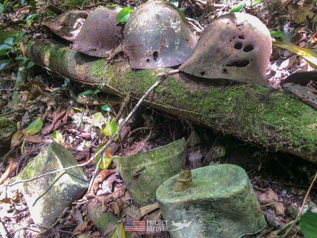 WWII helmets found on Peleliu.