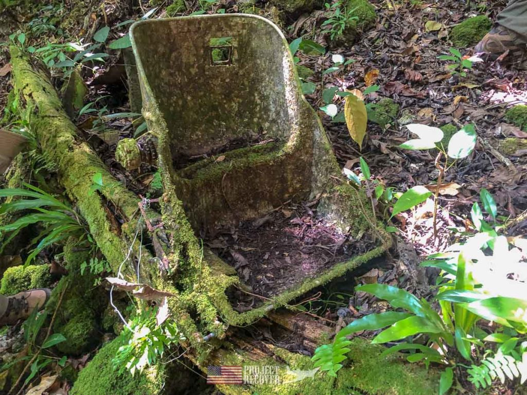 Seat from Japanese airplane found on Peleliu.