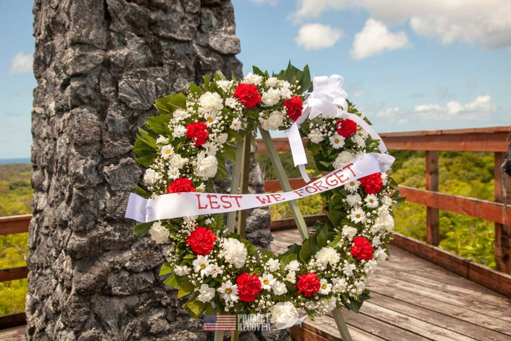 Wreath left at US Army 323rd Infantry Monument & Lookout recognizing 75th Anniversary of Battle of Peleliu.