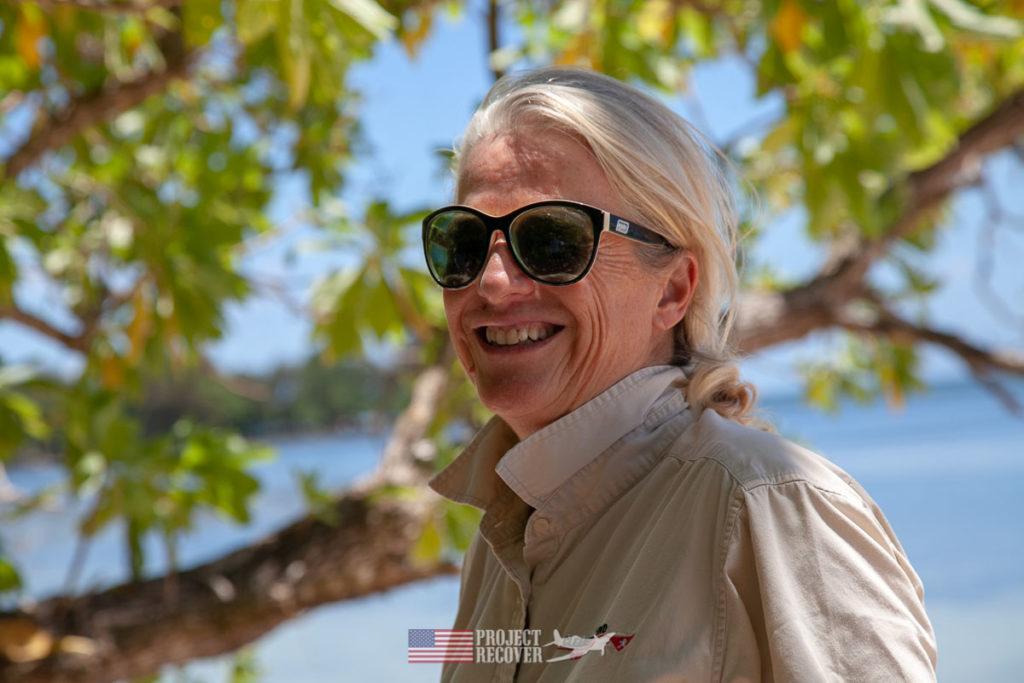Cassandra McKeown, Cleared Ground Demining director, on Orange Beach, Peleliu