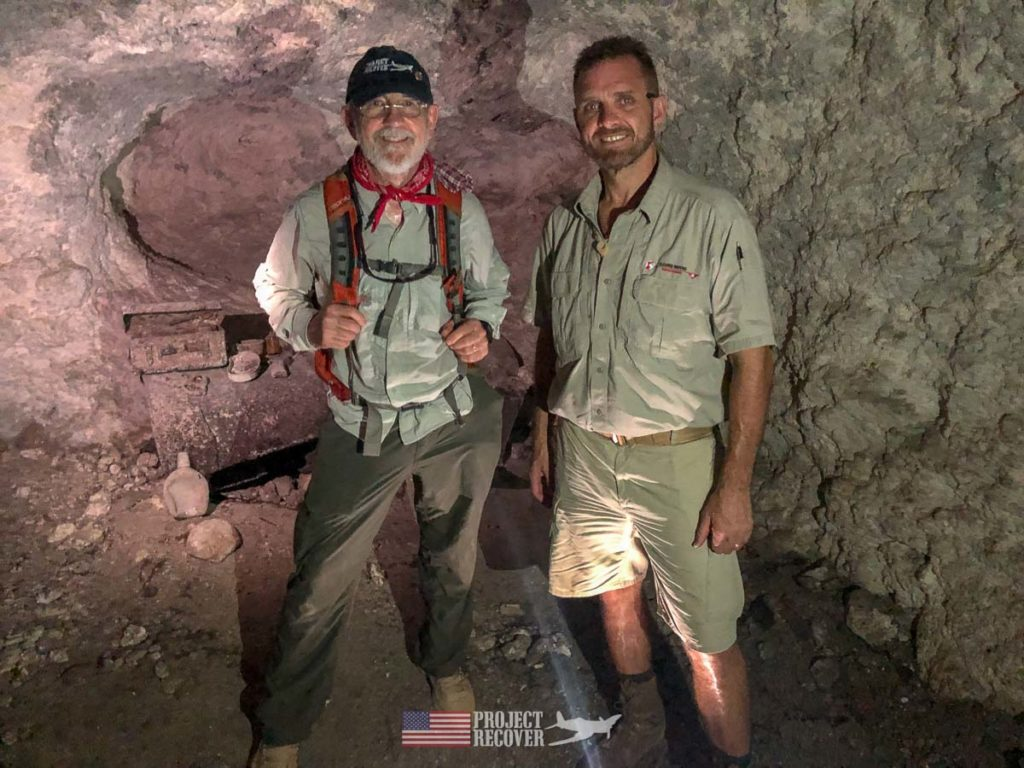 Pat Scannon, Project Recover President, and Steve Ballinger (Cleared Ground Demining director) inside Japanese cave on Peleliu.