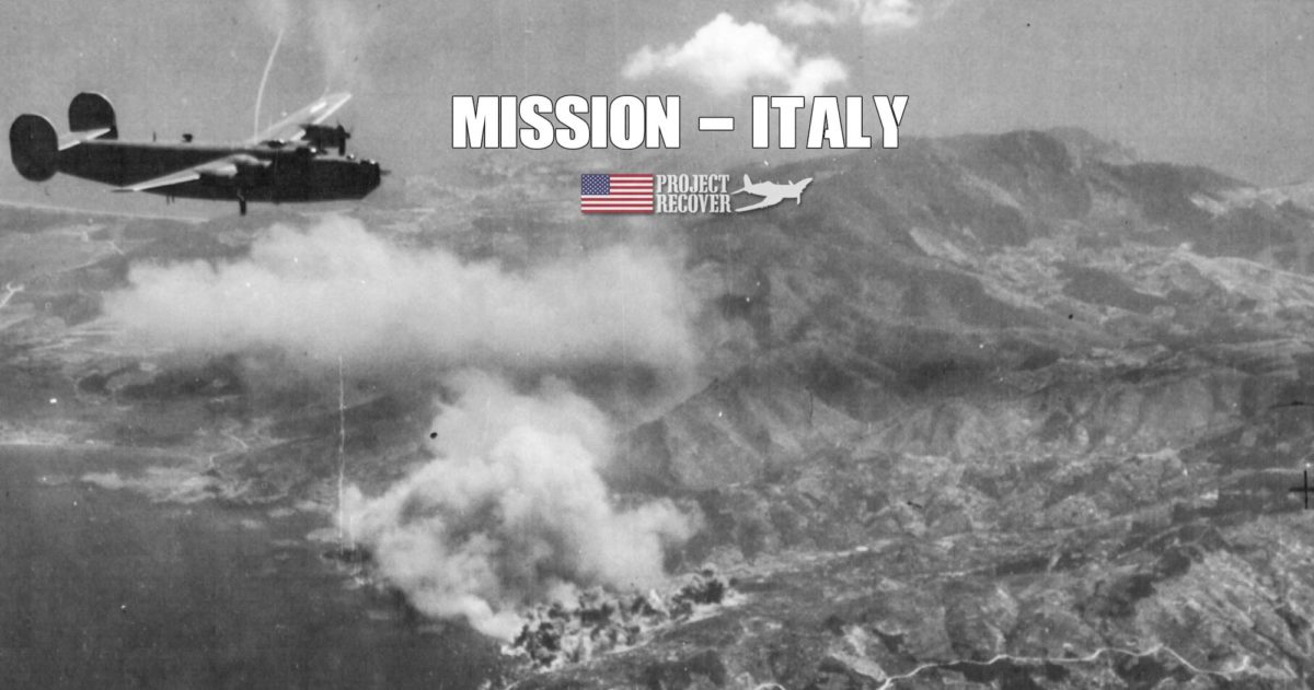 This WWII photo shows B-24 Liberators flying over Porto Santo Stefano, Italy - Project Recover Mission, Italy. Looking for WWII Bombers on the Western Coast of Italy - Project Recover is committed to bringing MIAs home.
