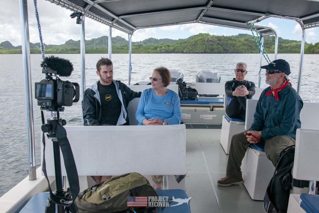 Adam Gray and mother, Cindy, (MIA Family) interviewed after Adam's dive to uncle's WWII wreck in Palau. Photo by Harry Parker Photography.com