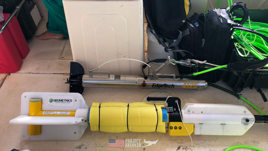 Sonar equipment to find wreckage on sea floor. Photo Credit: UDEL/Project Recover