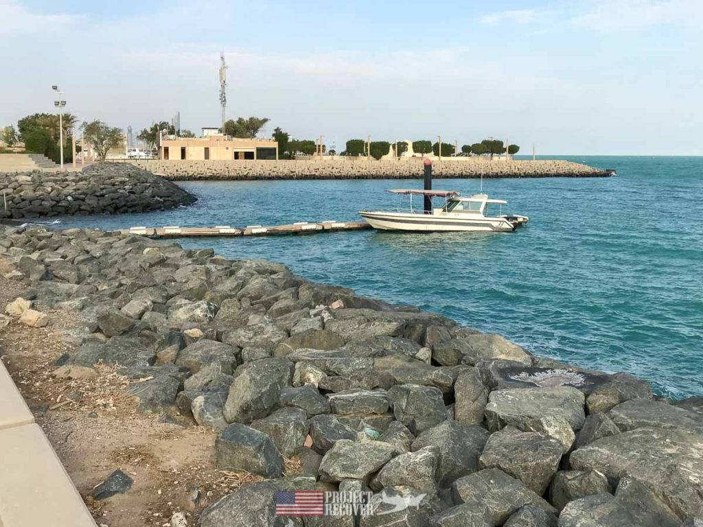 Small boat in water in Kuwait. Photo Credit: UDEL/Project Recover