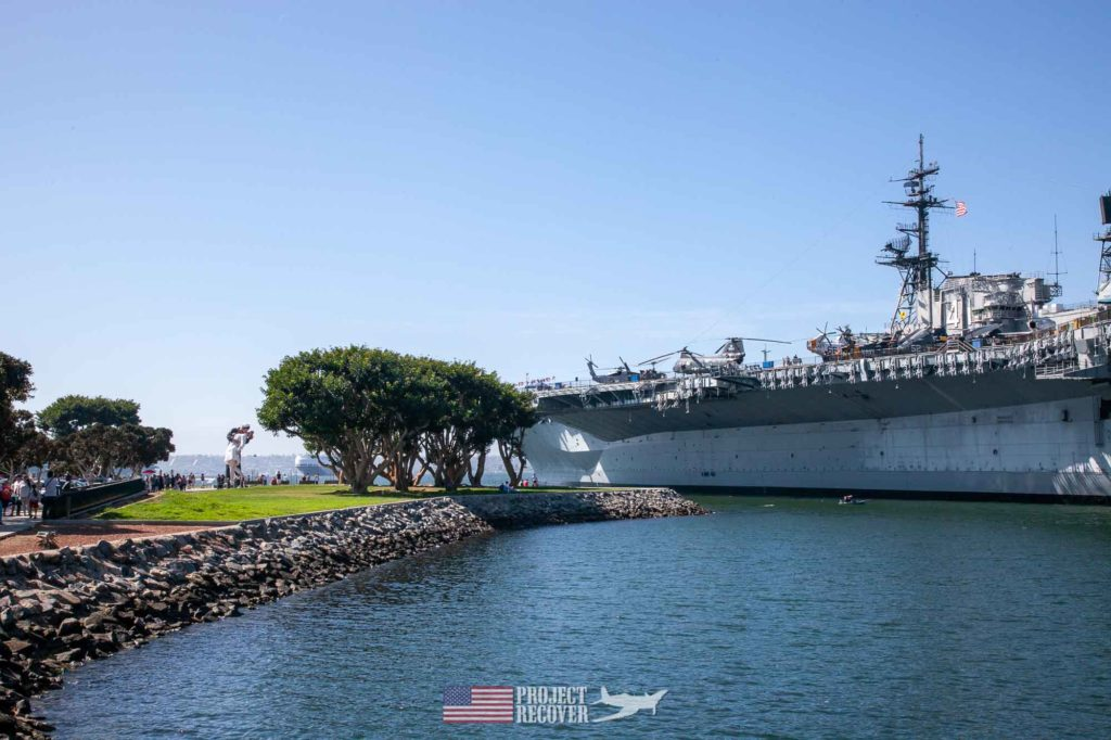 san Diego USS Midway aircraft warship in port