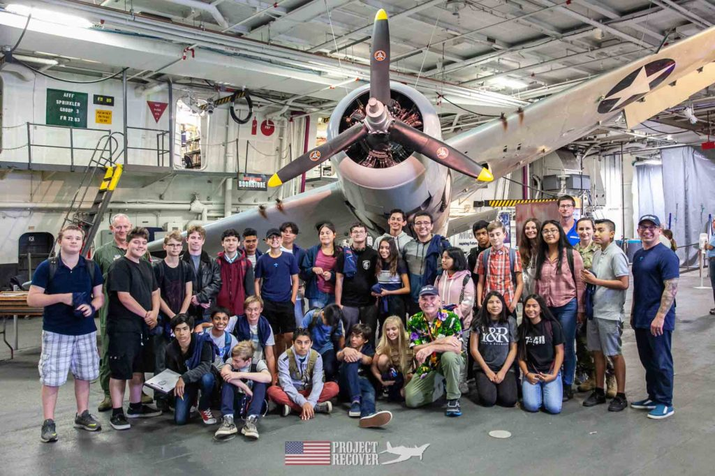 students aboard USS Midway