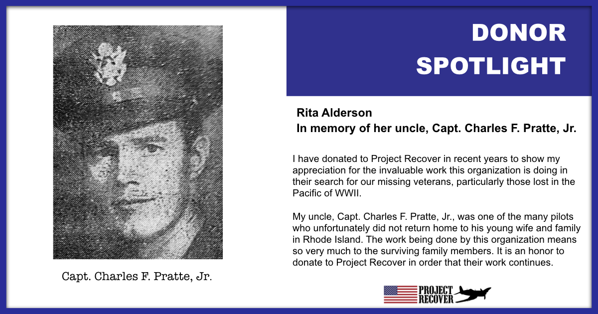 Donor Spotlight Rita Alderson gave to Project Recover in memory of her uncle, Capt. Charles F. Pratte, Jr.
