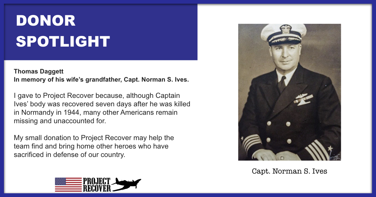 Thomas Daggett gave to Project Recover in honor of Capt. Norman S. Ives