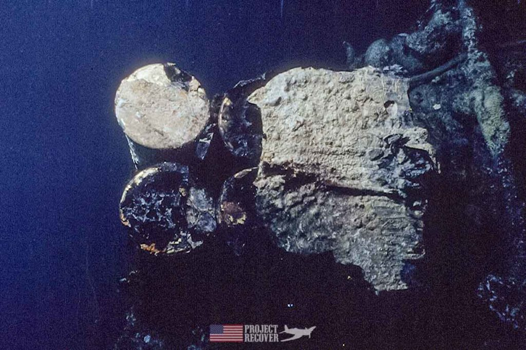 Sunken WWII 75 mm ammunition aboard Japanese trawler sunk by Pres. G. H. W. Bush