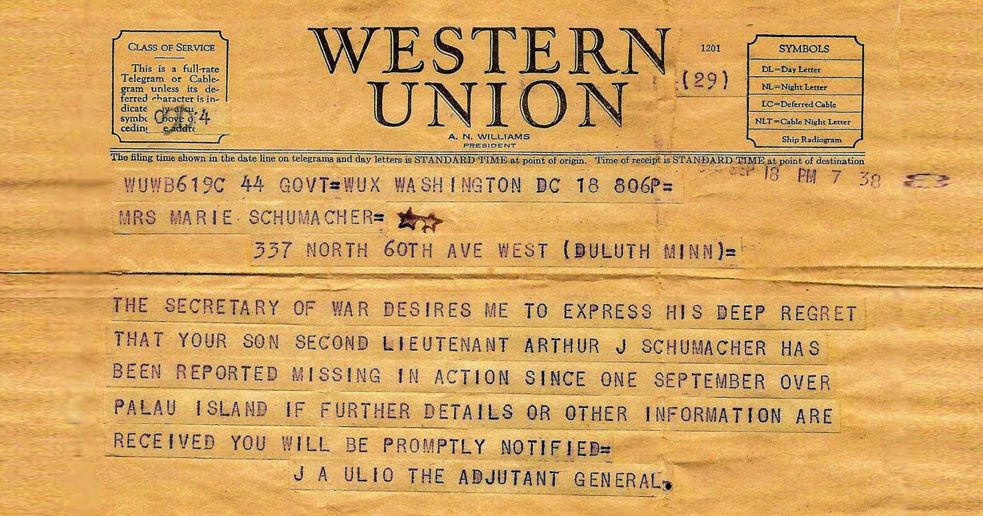 MIA Telegram from WWII