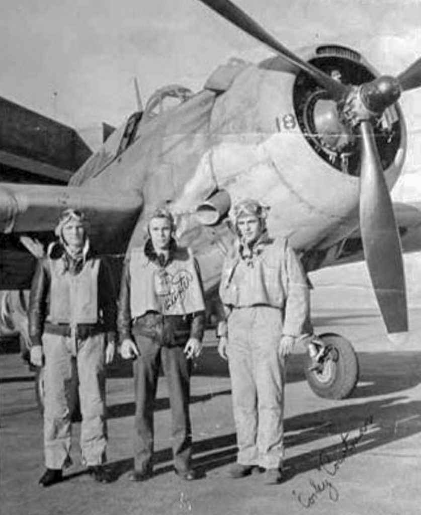 WWII Pilots in front of TBM Avenger