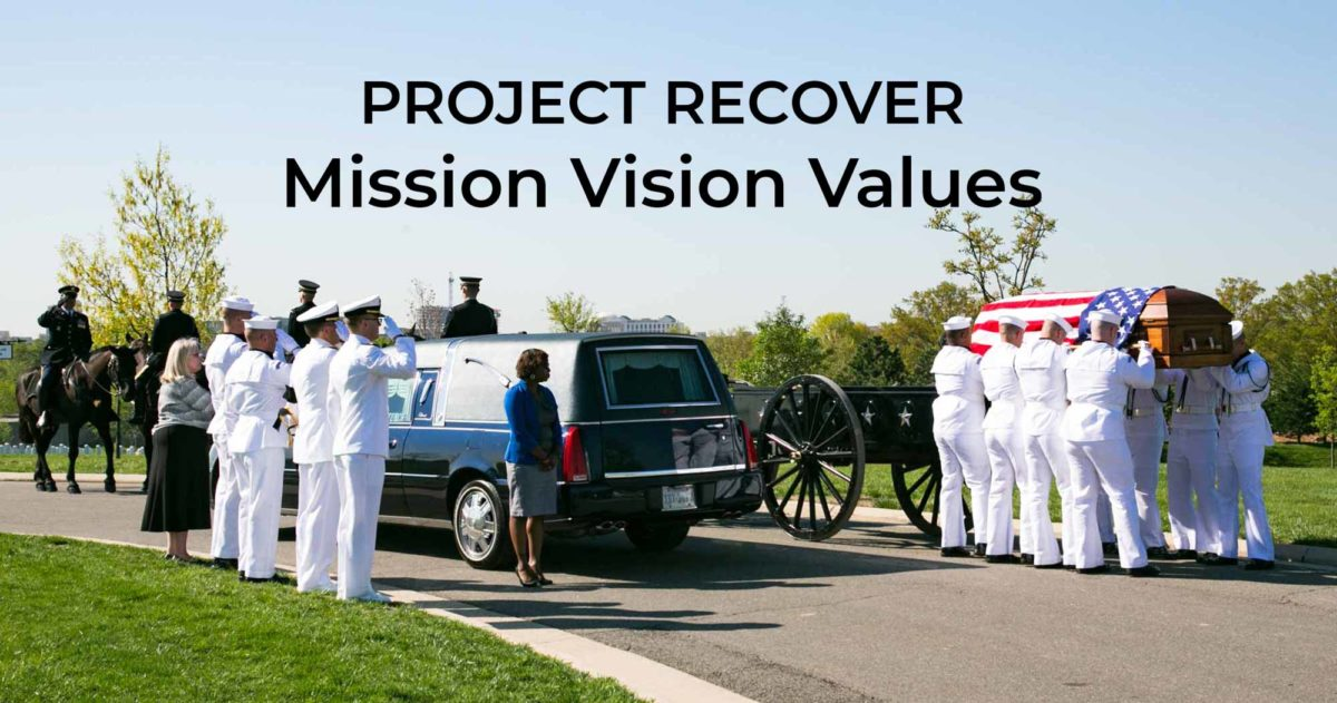 Project Recovers Mission Vision and Values - casket being loaded onto caisson Arlington cemetery