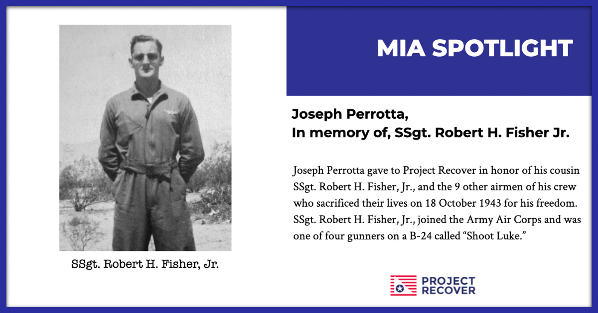 Feature image of WWII SSgt. Rober H. Fisher, Jr.