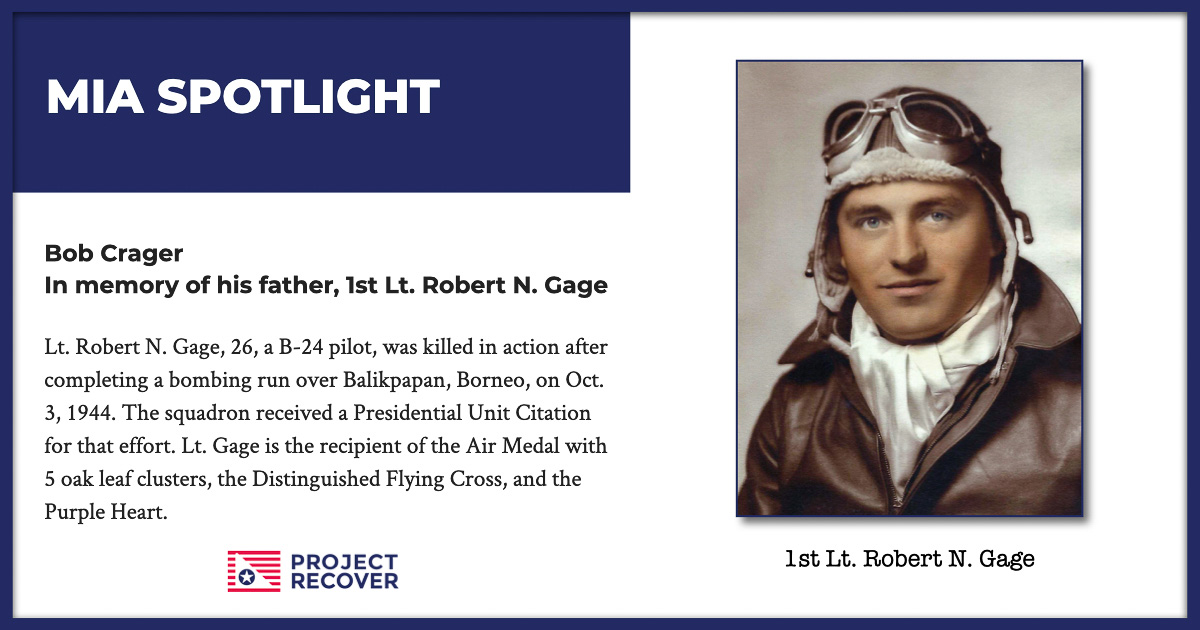 MIA Spotlight Lt. Robert N. Gage